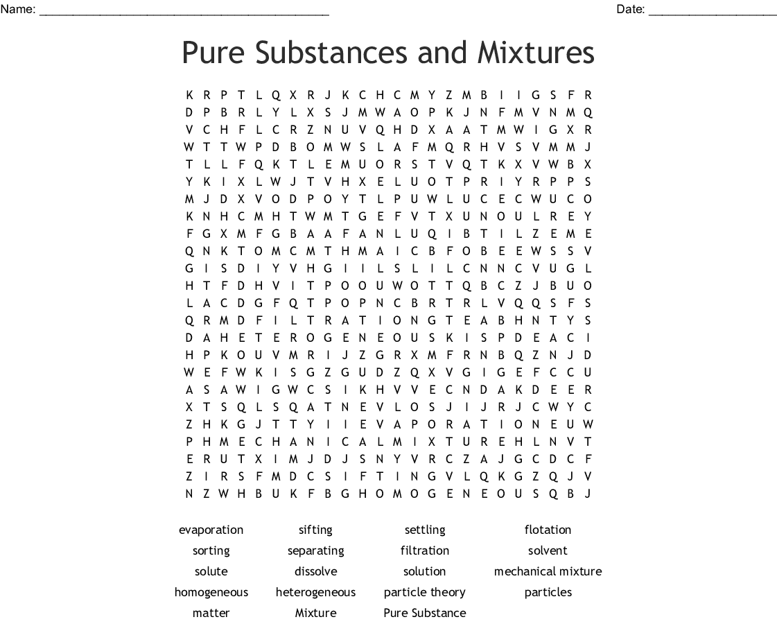 Mixtures And Solutions Word Search