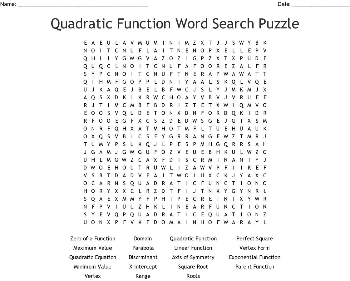 Algebra 1 Word Search