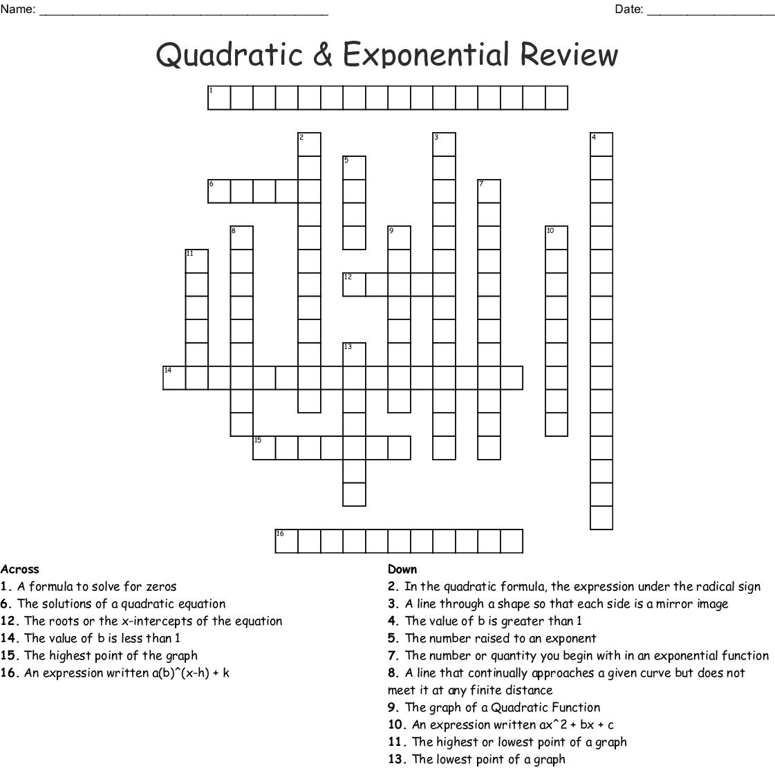 Quadratic Amp Exponential Review Crossword