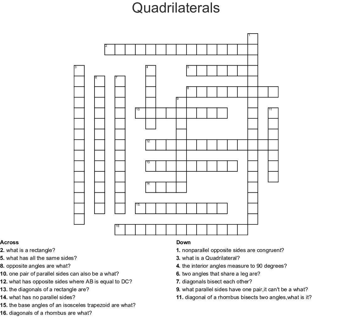 Quadrilaterals Crossword