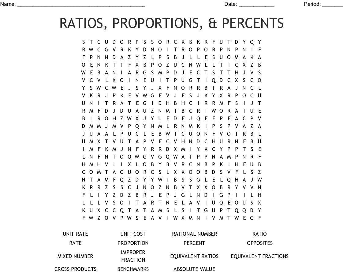 Ratios Proportions Amp Percents Word Search