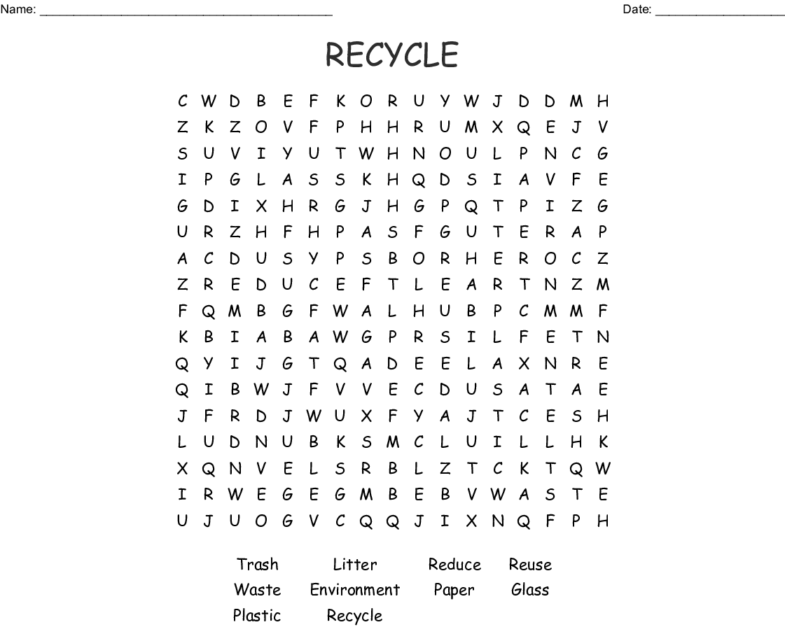 Recycling Plastic Word Search