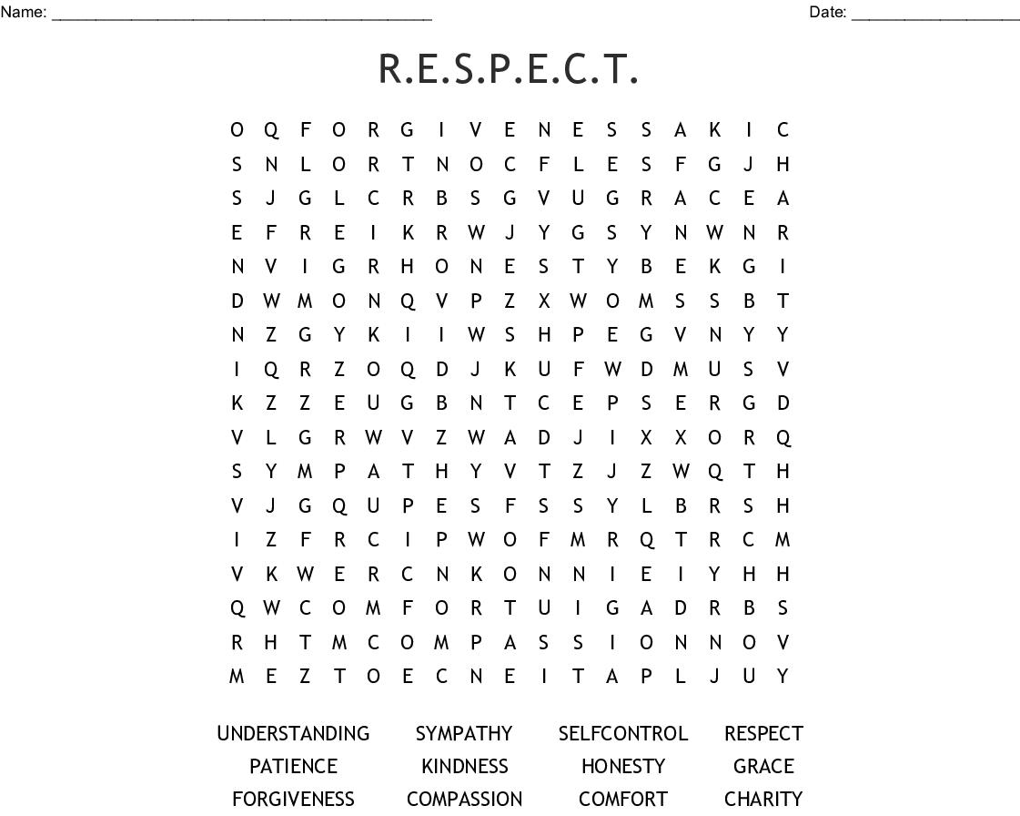 R E S P E C T Word Search