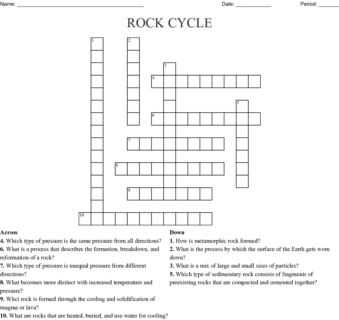 The Rock Cycle Crossword