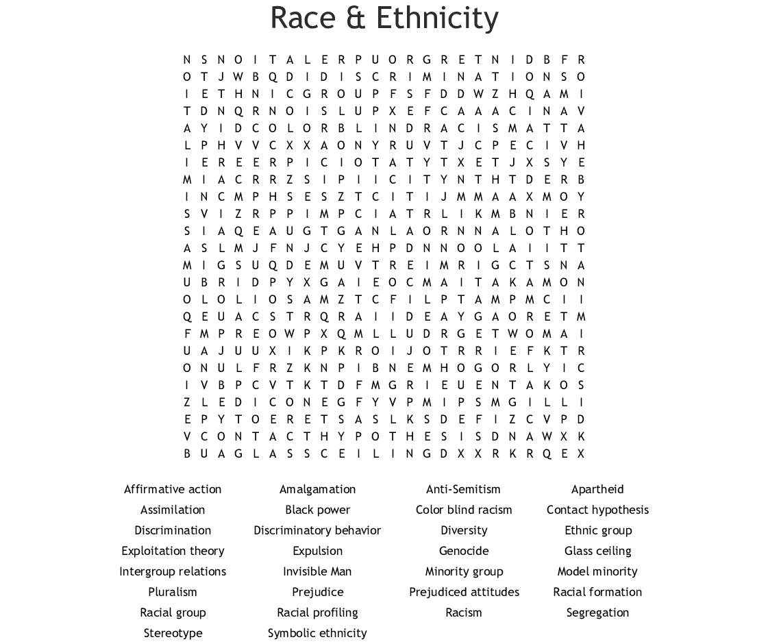 Race Amp Ethnicity Word Search