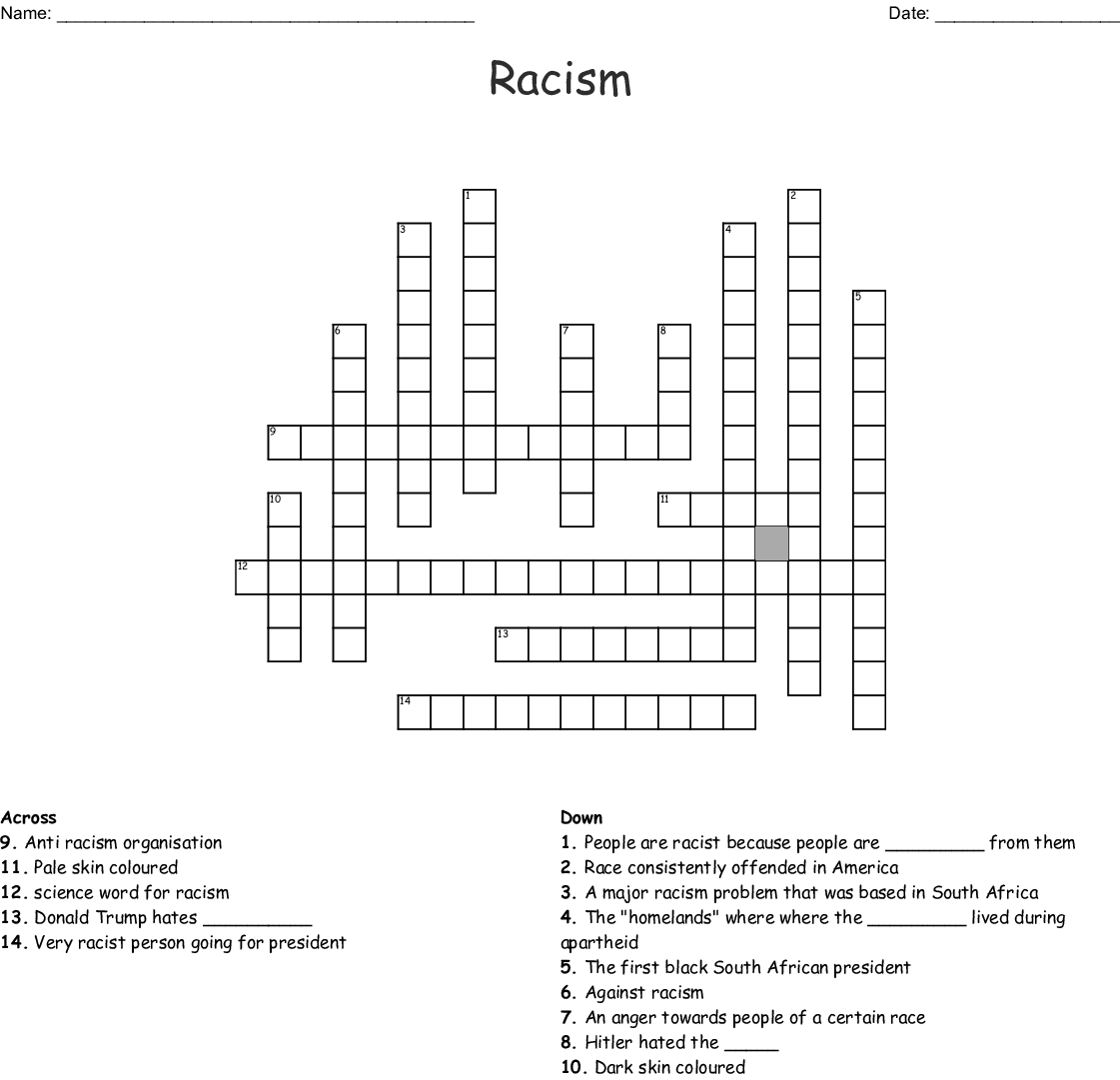 Racism Crossword