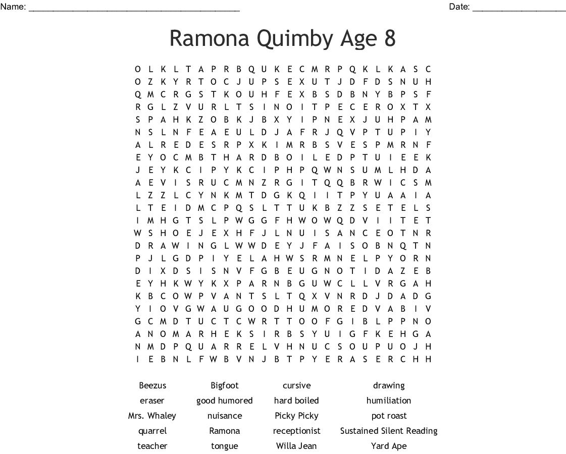 Ramona Quimby Age 8 Word Search