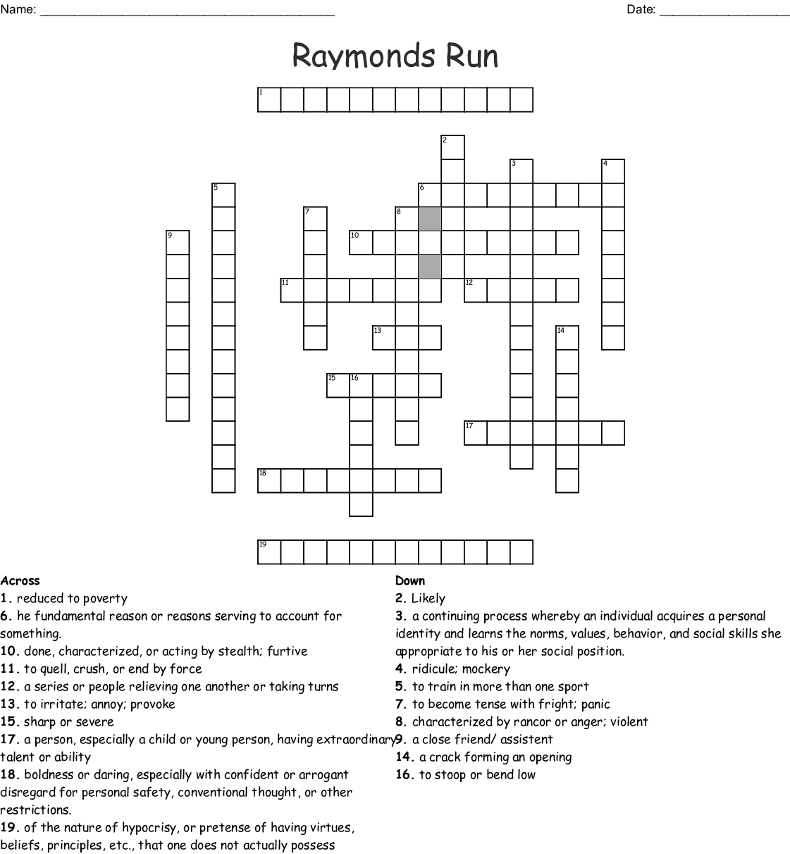Raymond S Run Cross Word Puzzle