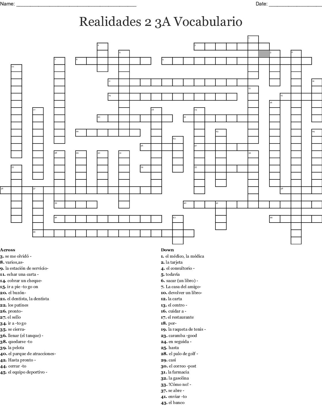3a Vocabulary Matching Worksheet