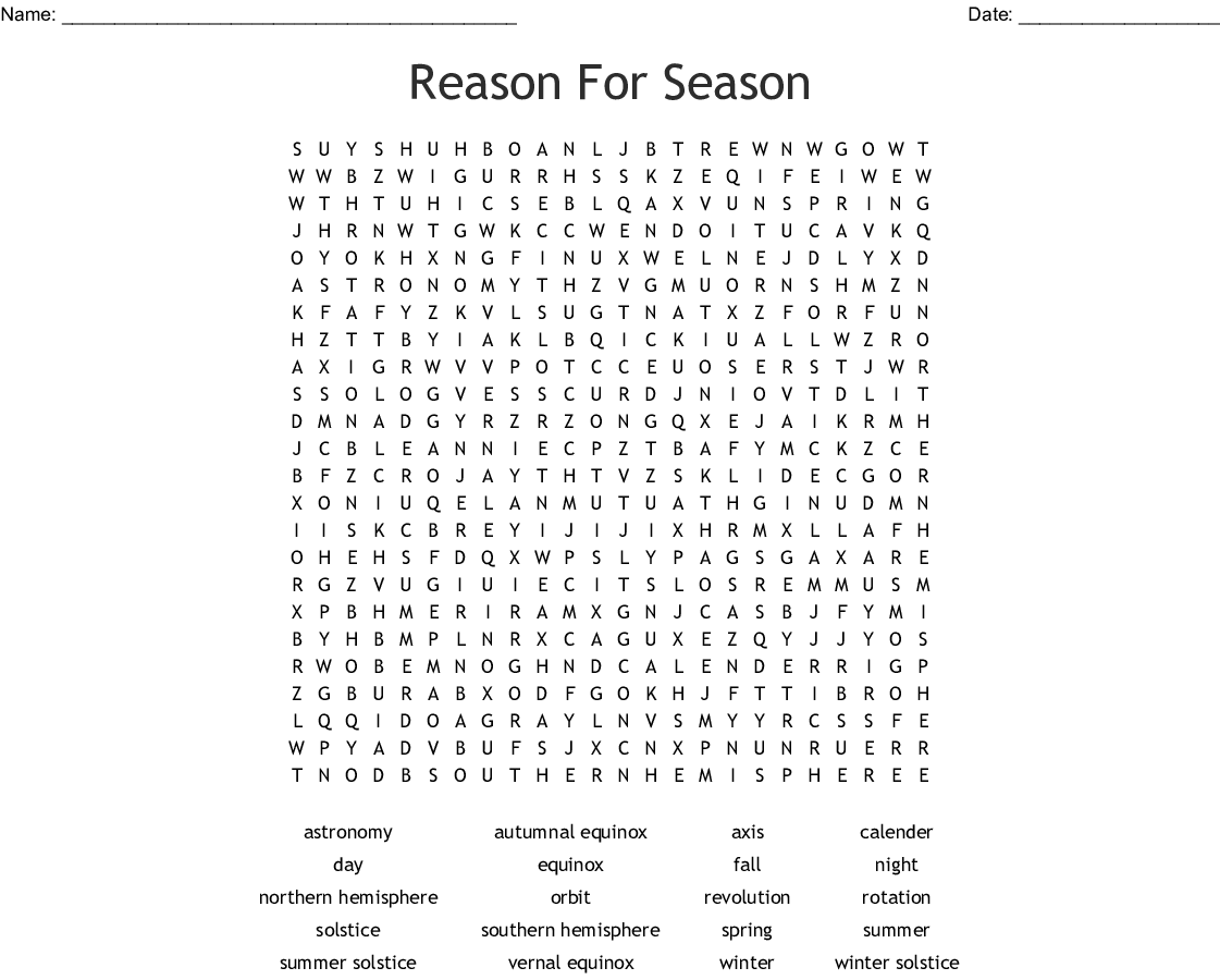 Day And Night On Earth Word Search