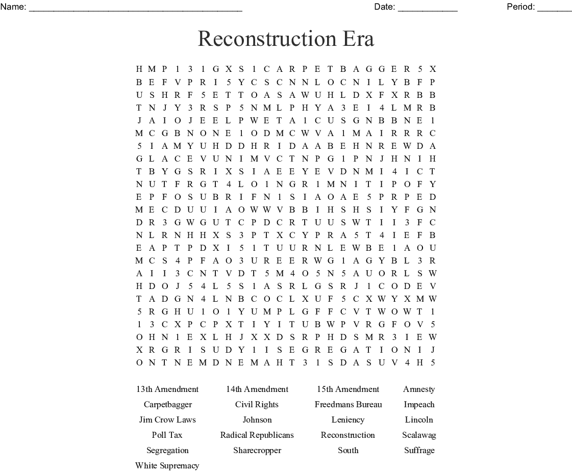 Reconstruction Era Word Search