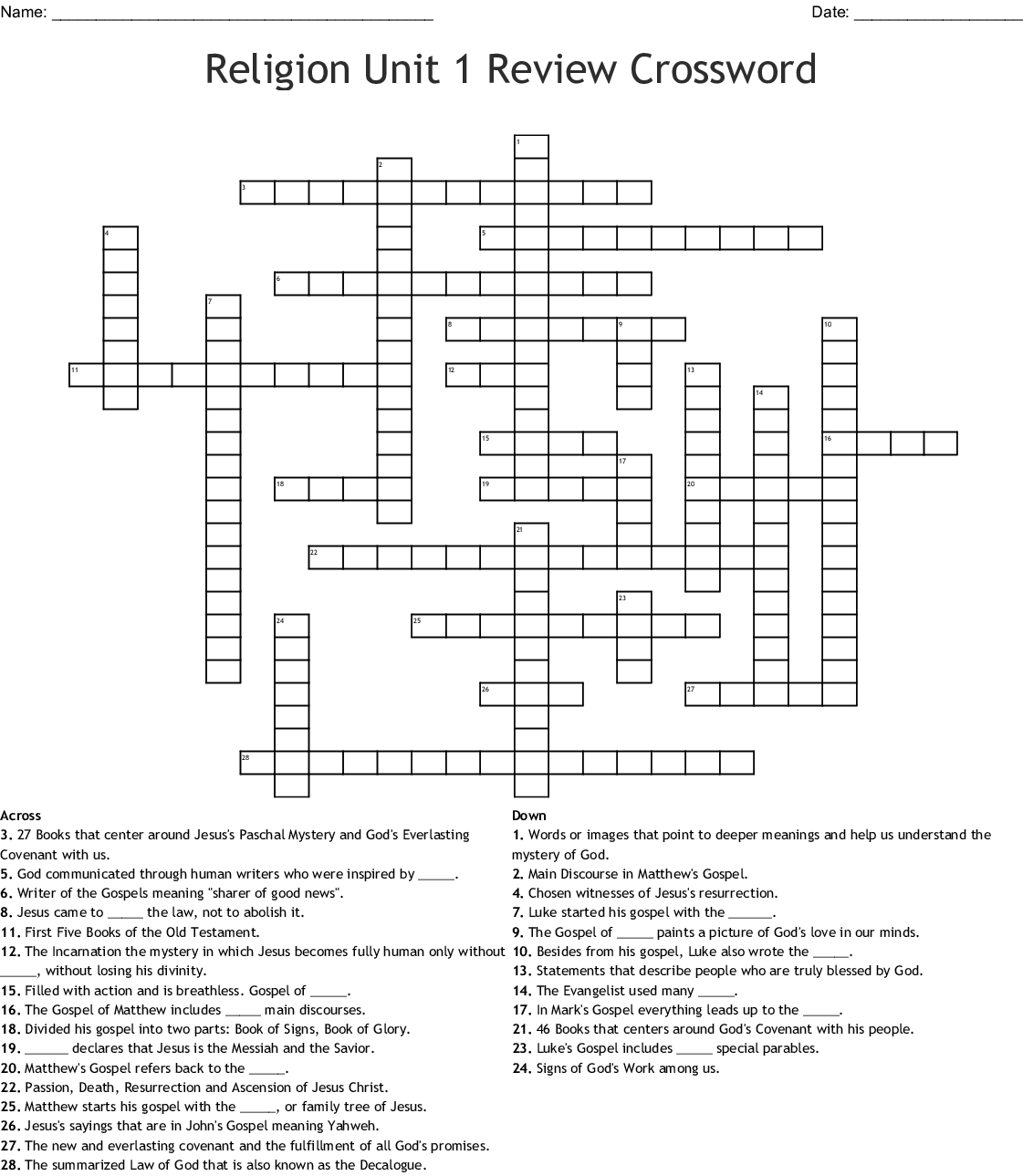 Parts Of The Bible Crossword