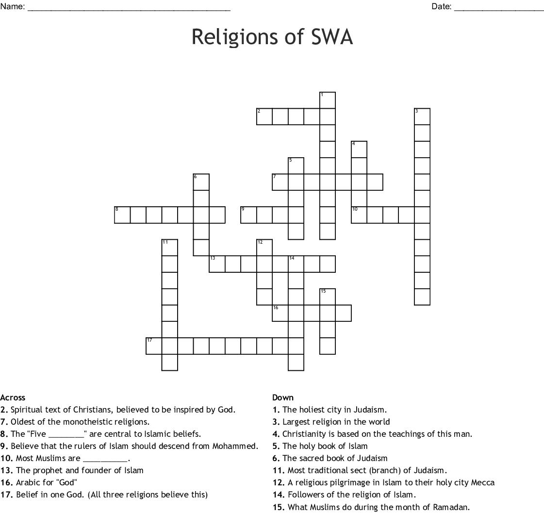 Religion Crossword Puzzle