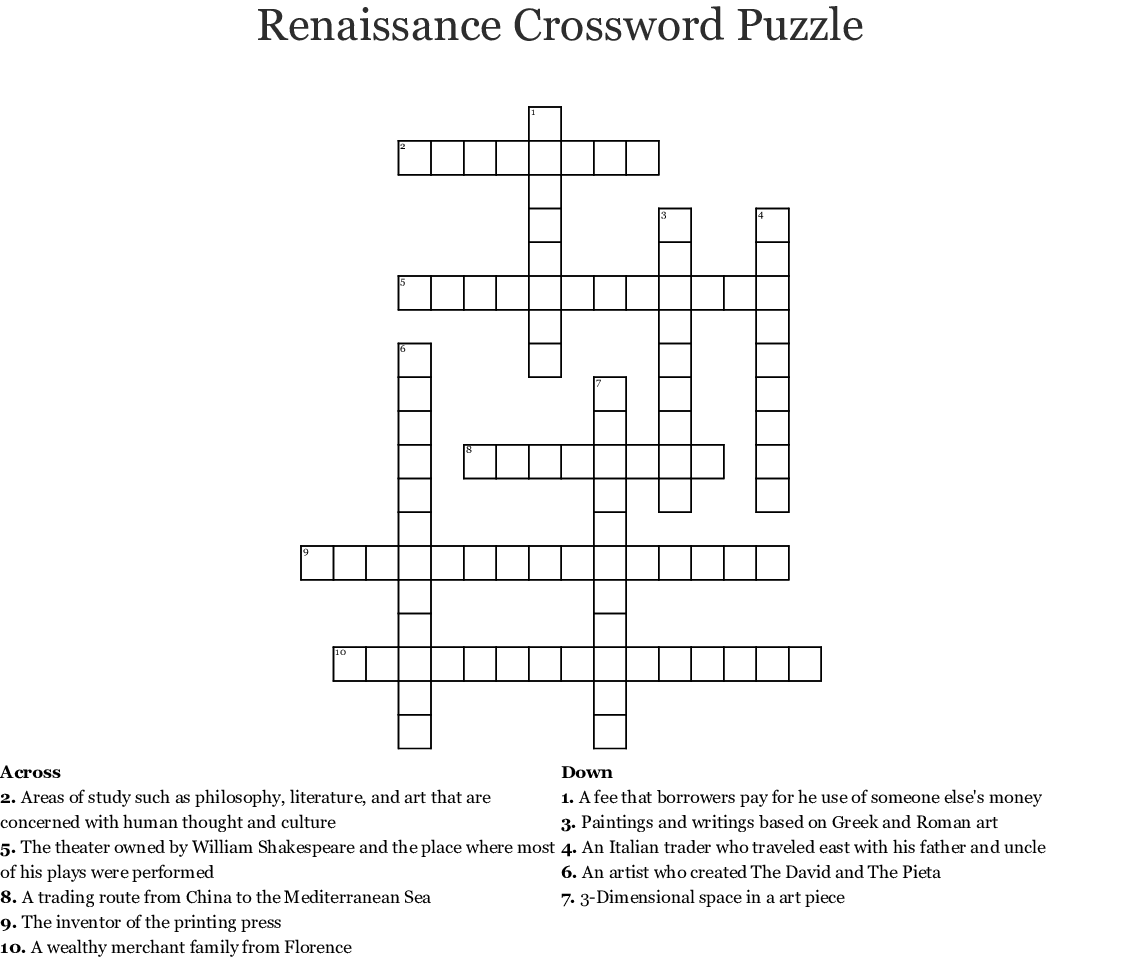 Renaissance Crossword
