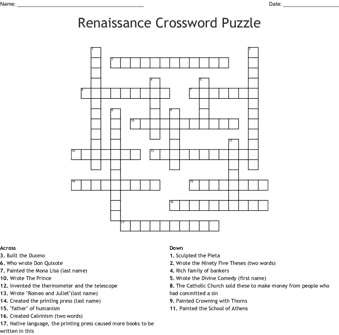 Renaissance Crossword Puzzle Crossword