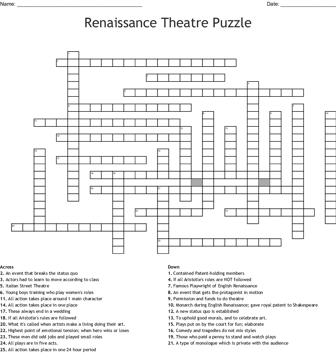 Theater Through The Ages Worksheet Answers