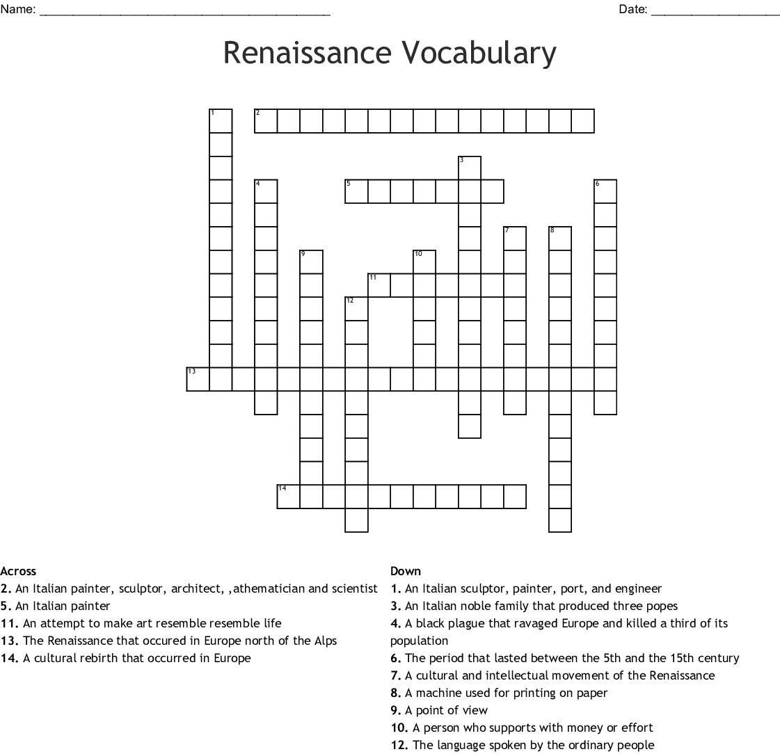 Renaissance Crossword