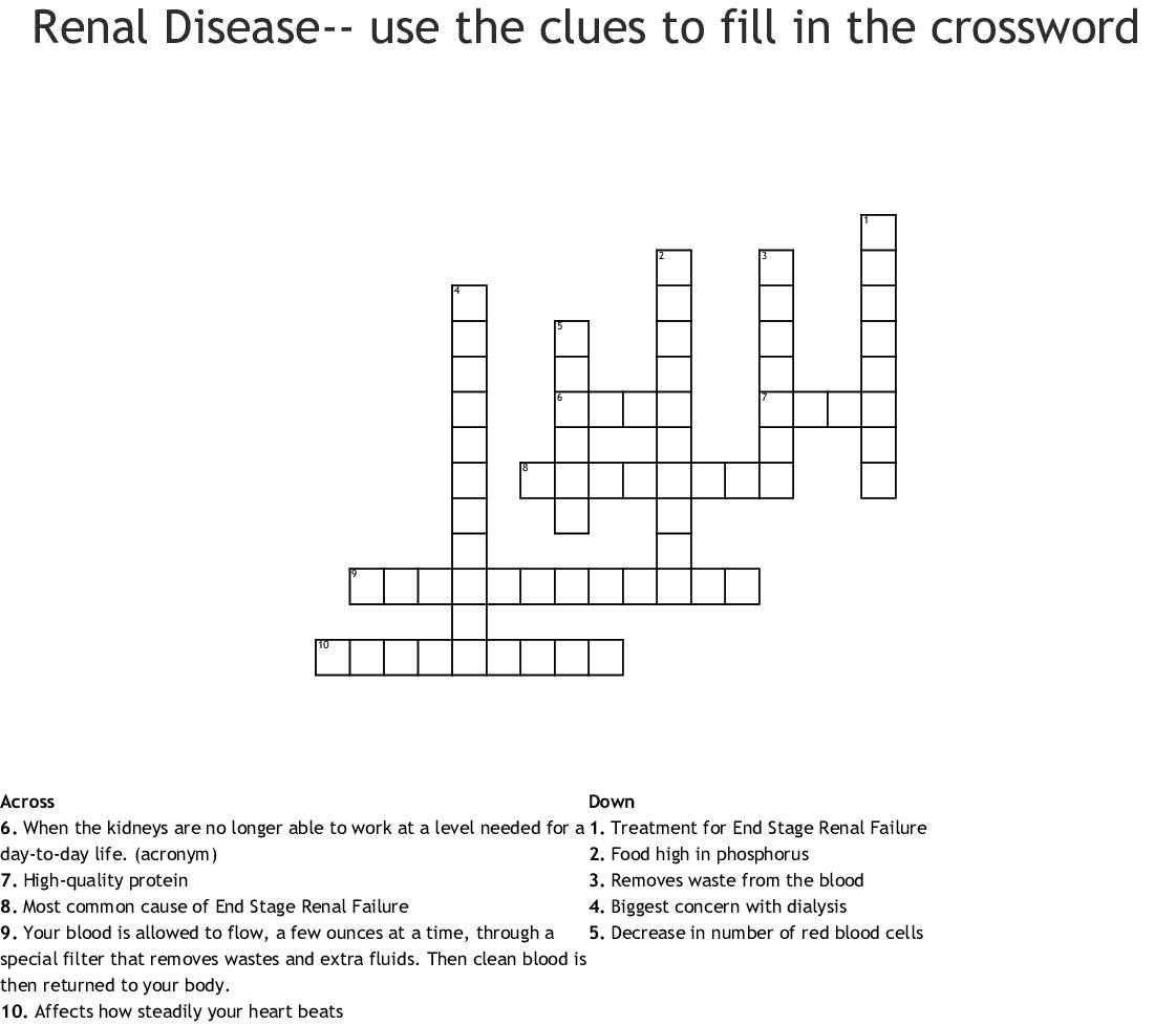 Kidney Crossword Puzzle