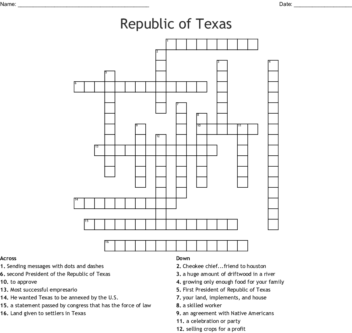 Republic Of Texas Crossword