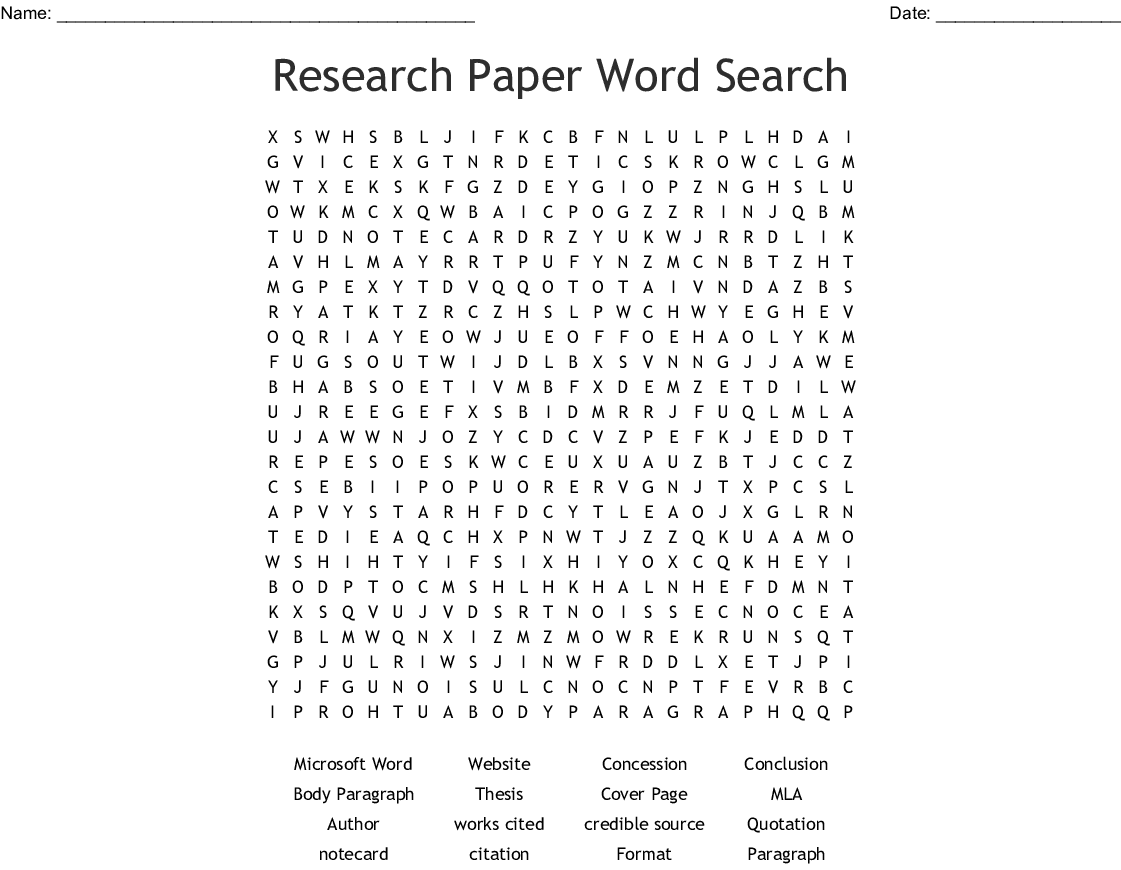Research Paper Word Search