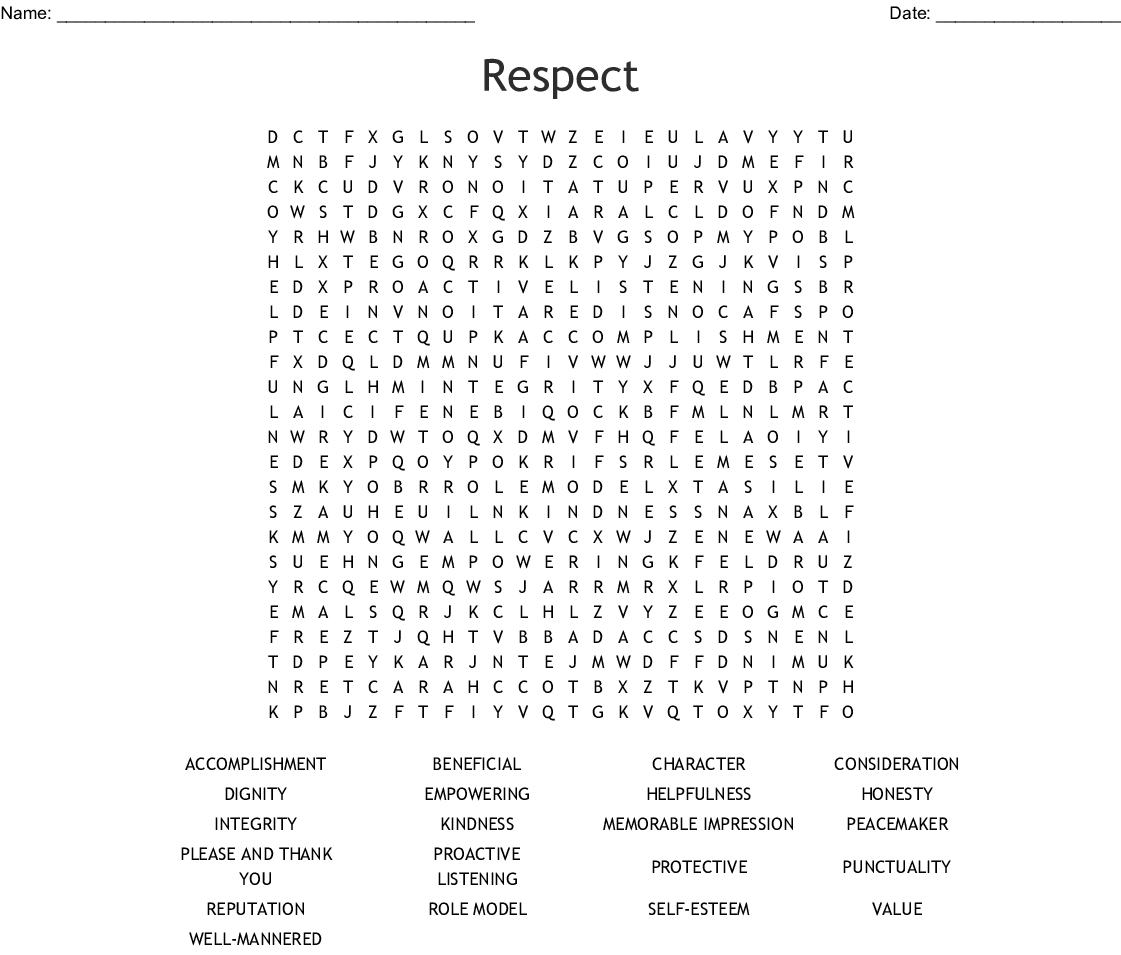 Respect Word Search