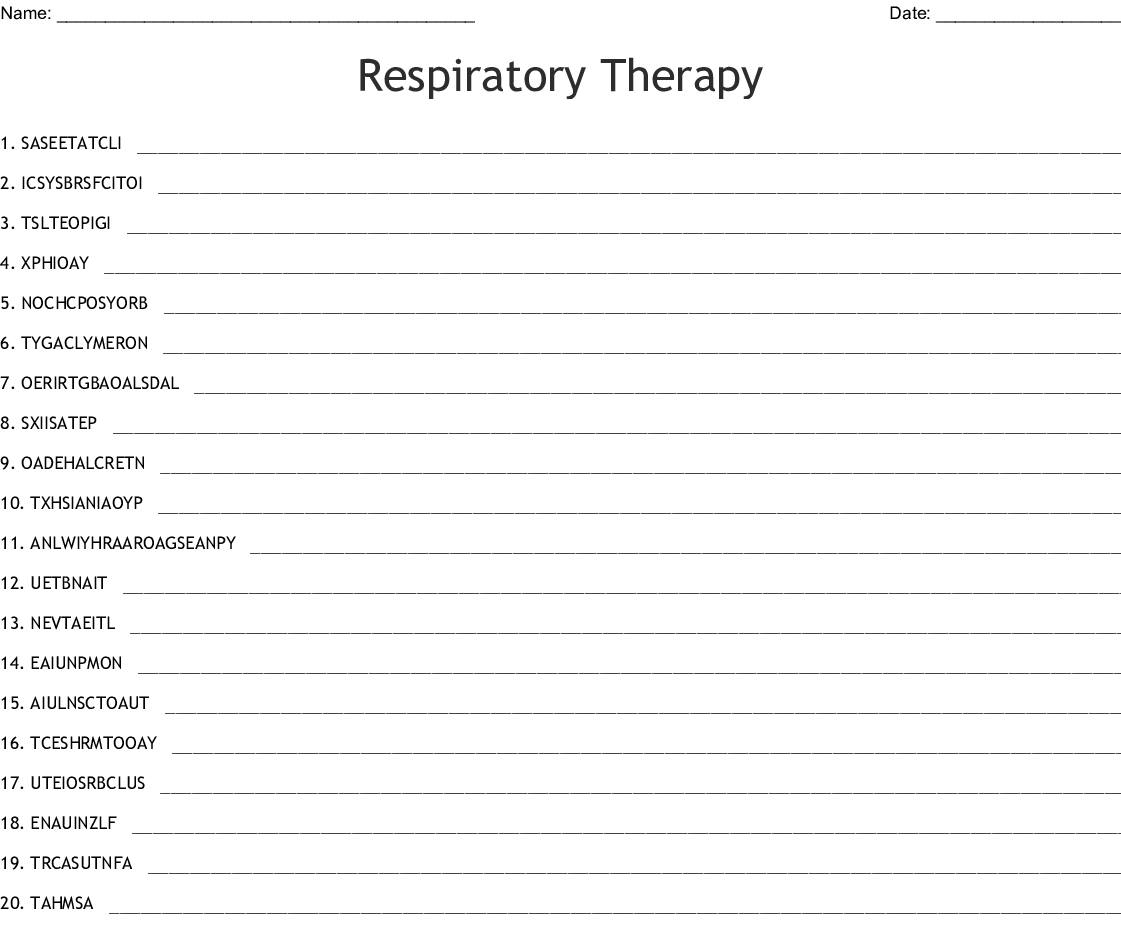 Respiratory Therapy Word Scramble