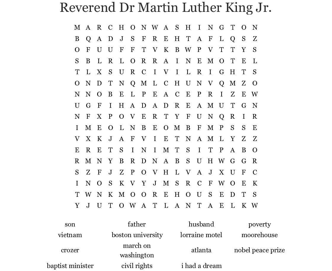 Reverend Dr Martin Luther King Jr Word Search