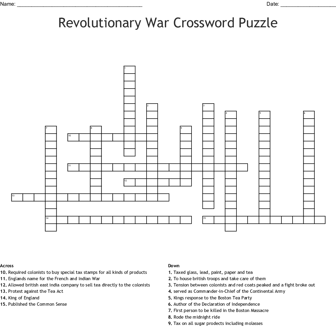 Revolutionary War Crossword Puzzle