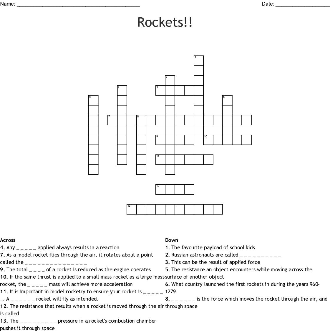 Rockets Crossword