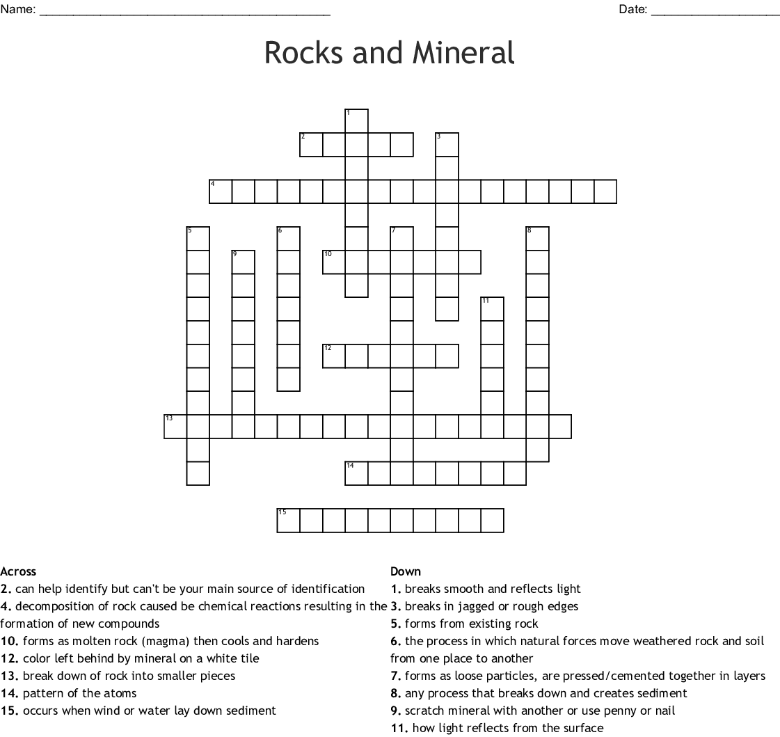 Rocks And Mineral Crossword