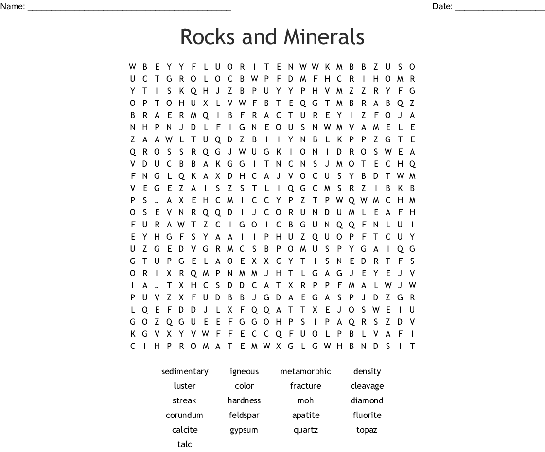 Rocks Cycle Amp Minerals By Raynell Revilla Word Search