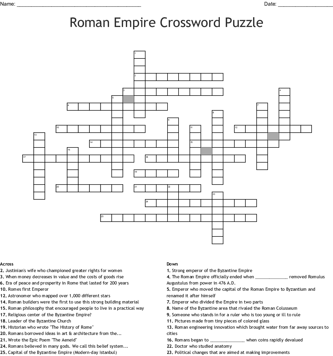 Roman Empire Crossword Puzzle