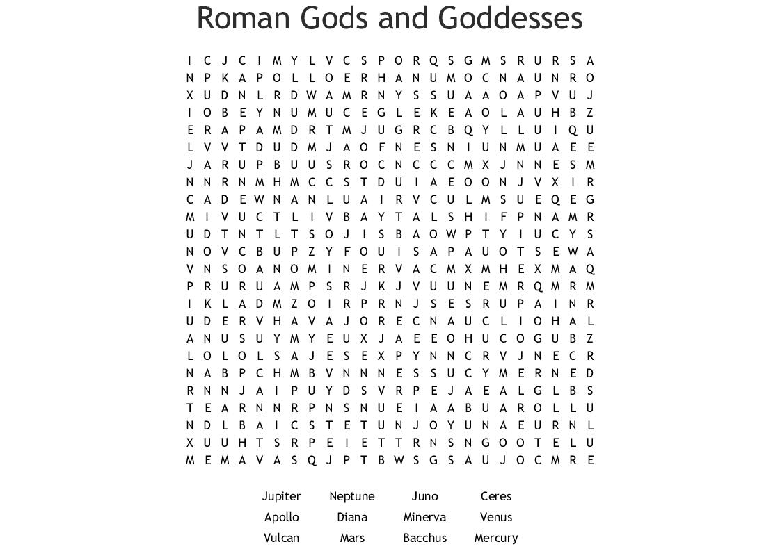 Roman Gods And Goddesses Crossword