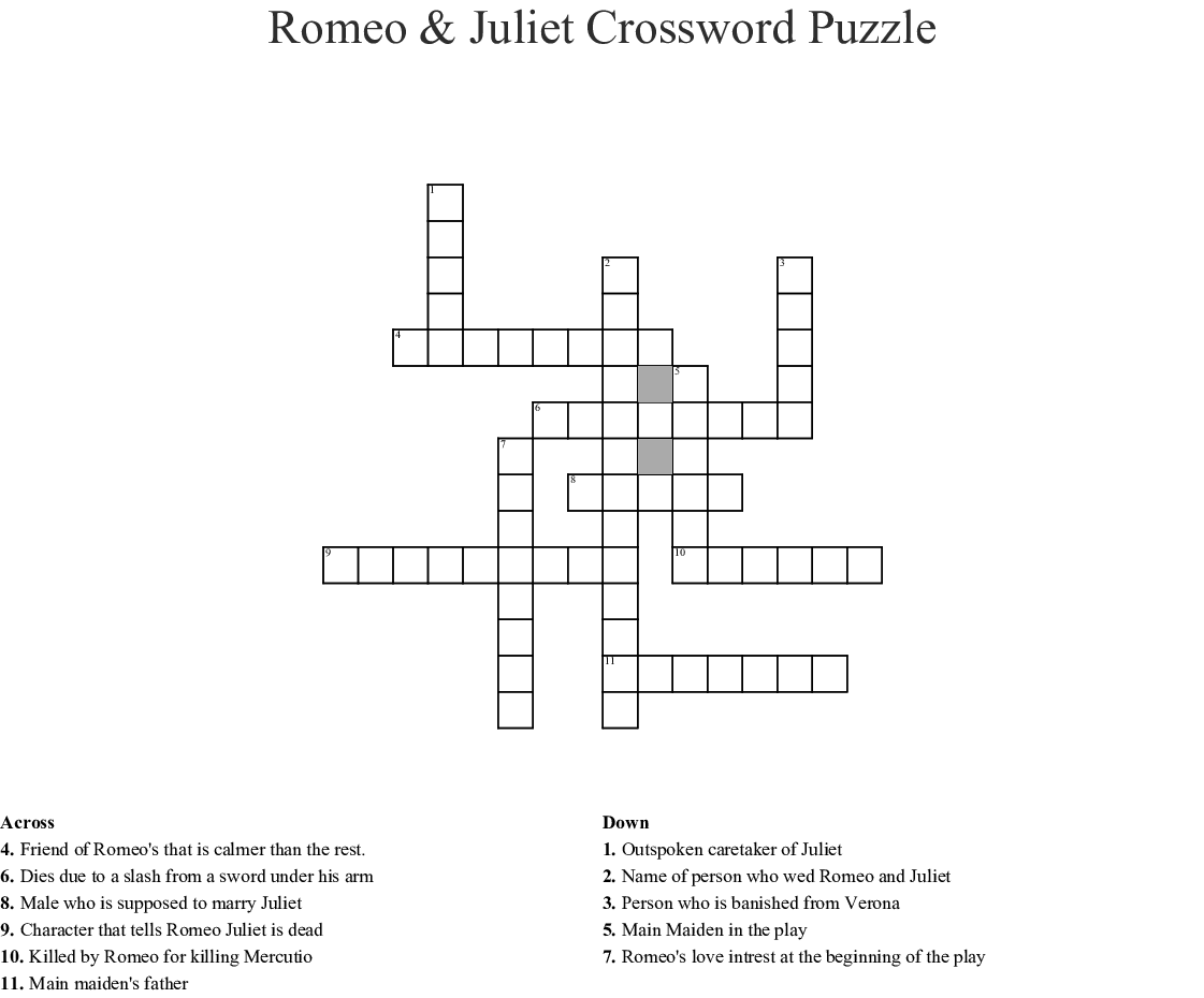 Similar To Romeo And Juliet Crossword Puzzle