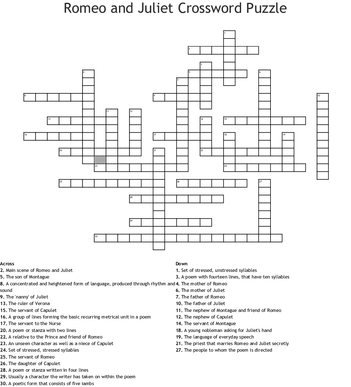 Romeo And Juliet Act Iv Crossword