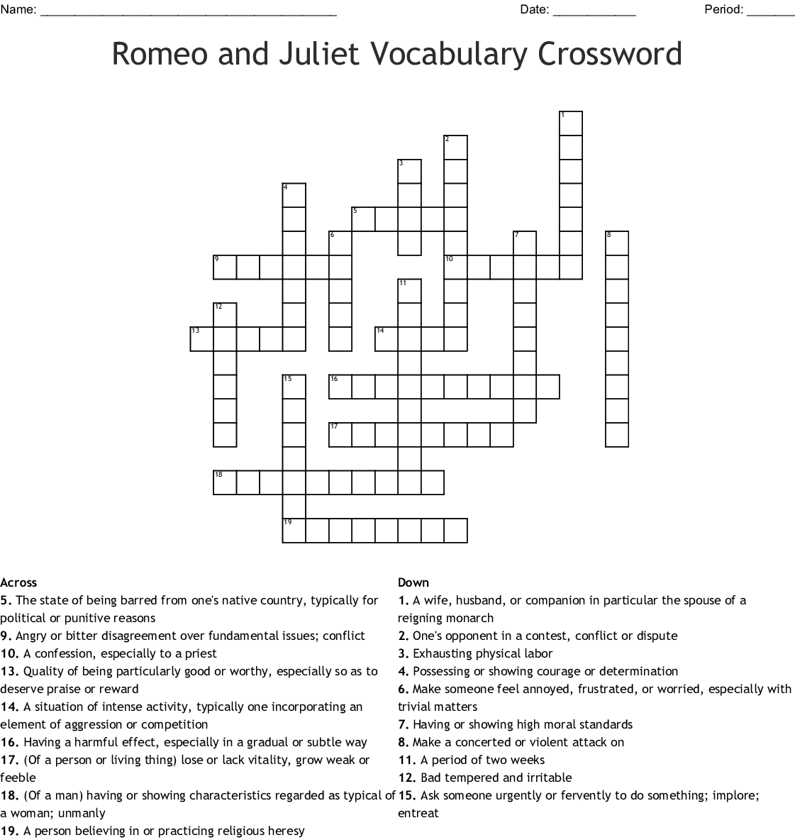 Romeo And Juliet Vocab Crossword