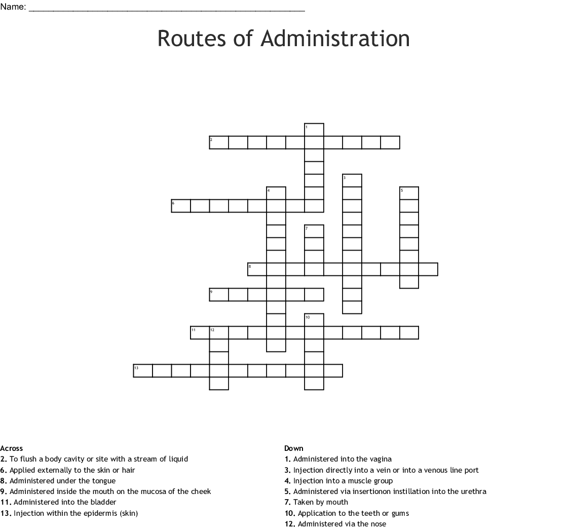 Chapter 4 Routes Of Administration Worksheet