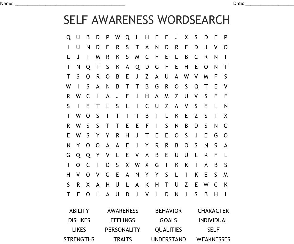 Self Awareness Word Search