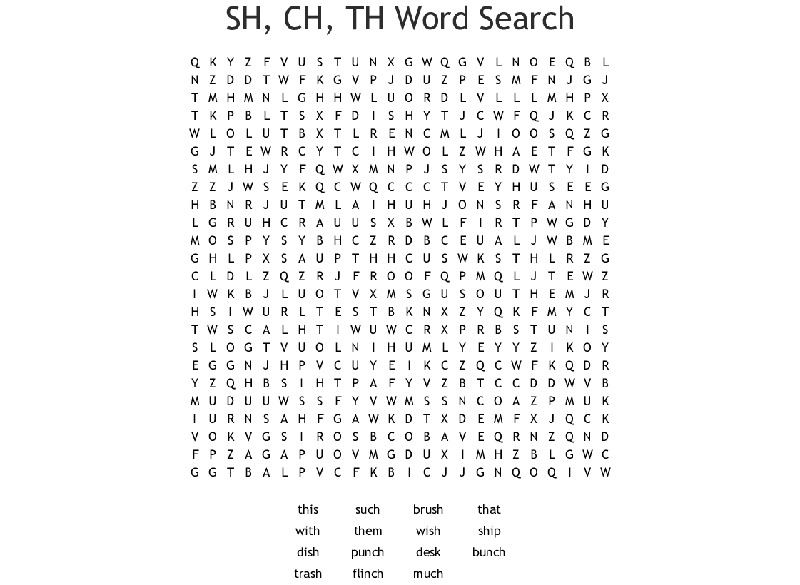 Ch And Tch Word Search