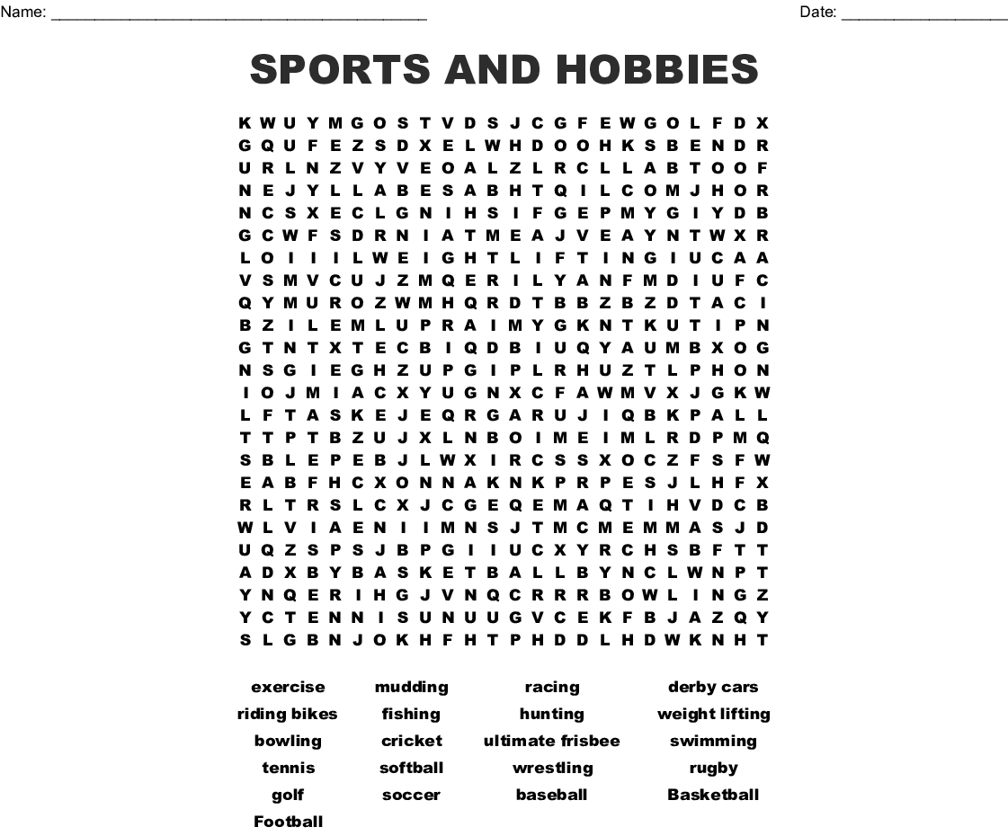 Sports And Hobbies Word Search
