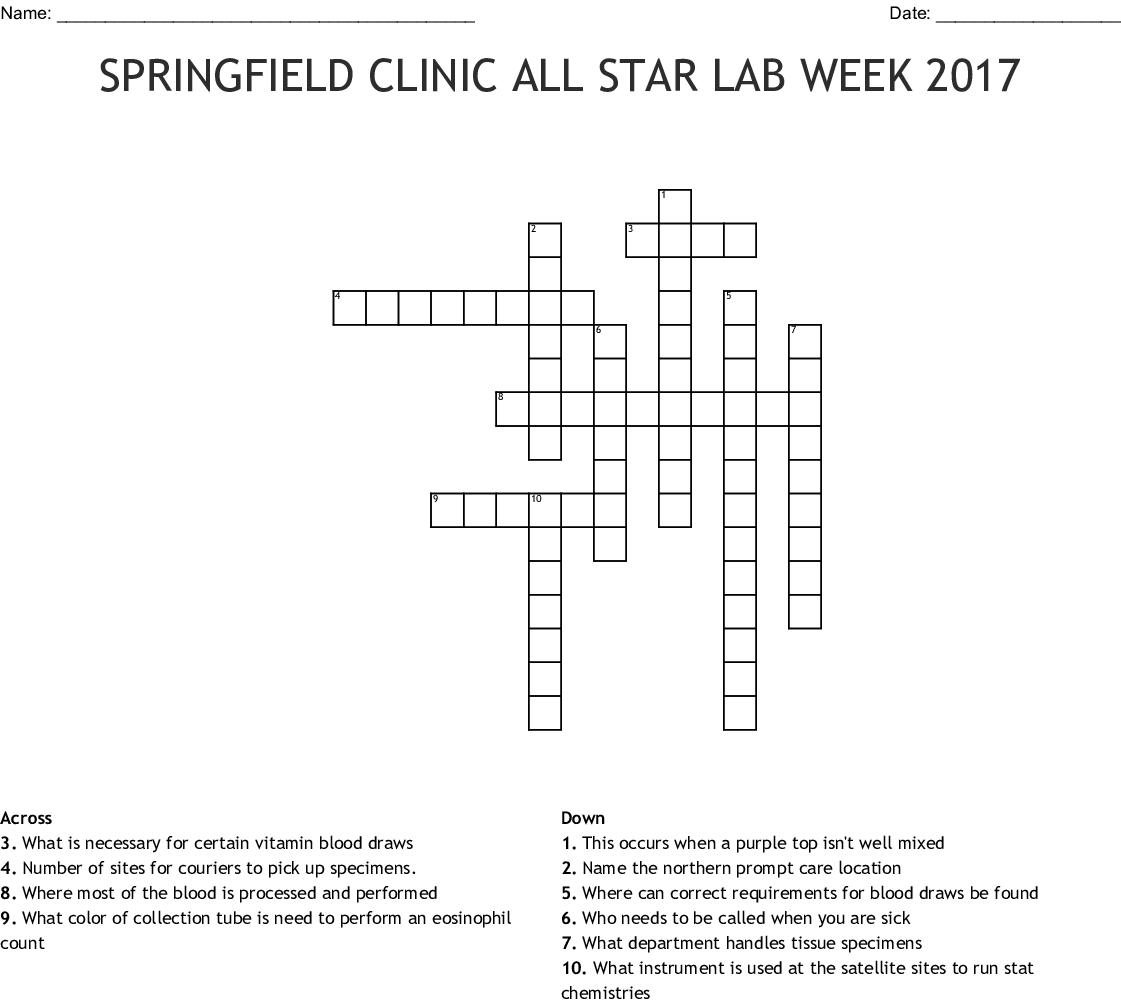 Springfield Clinic All Star Lab Week Crossword