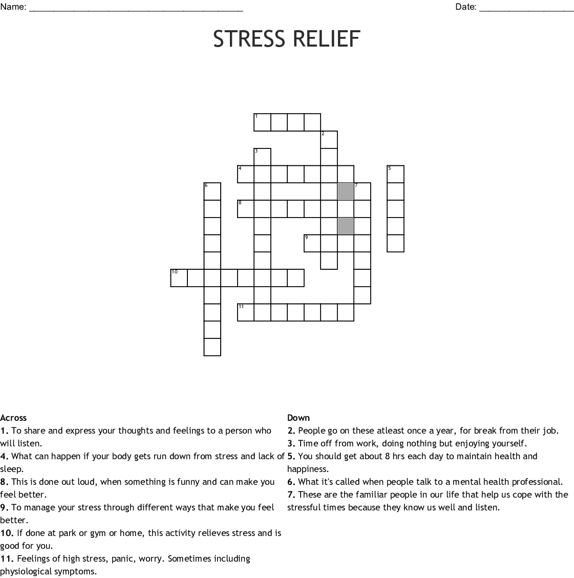 Stress Words Worksheet