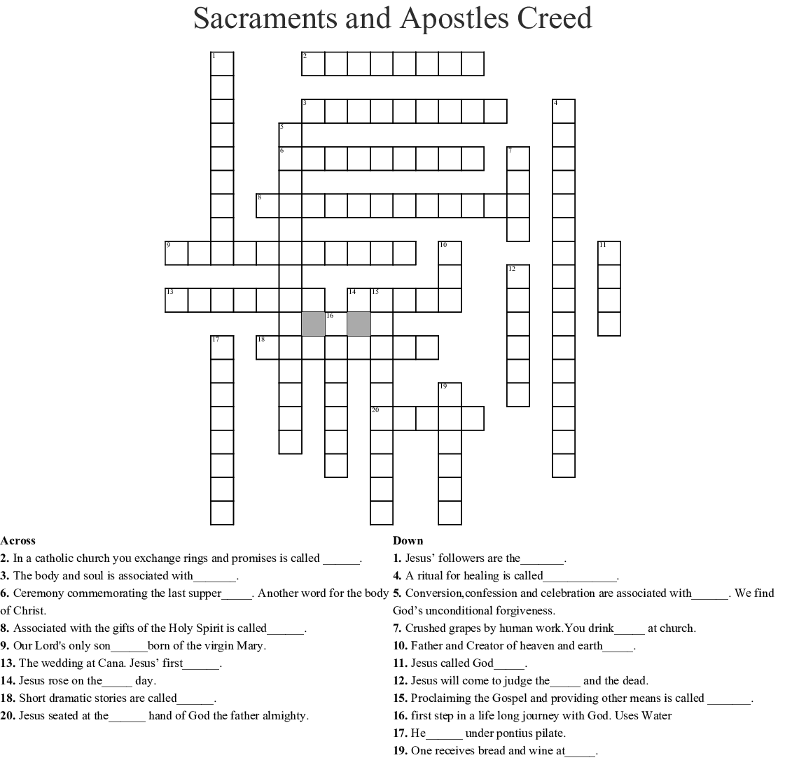 Apostles Creed Scripture Search Worksheet