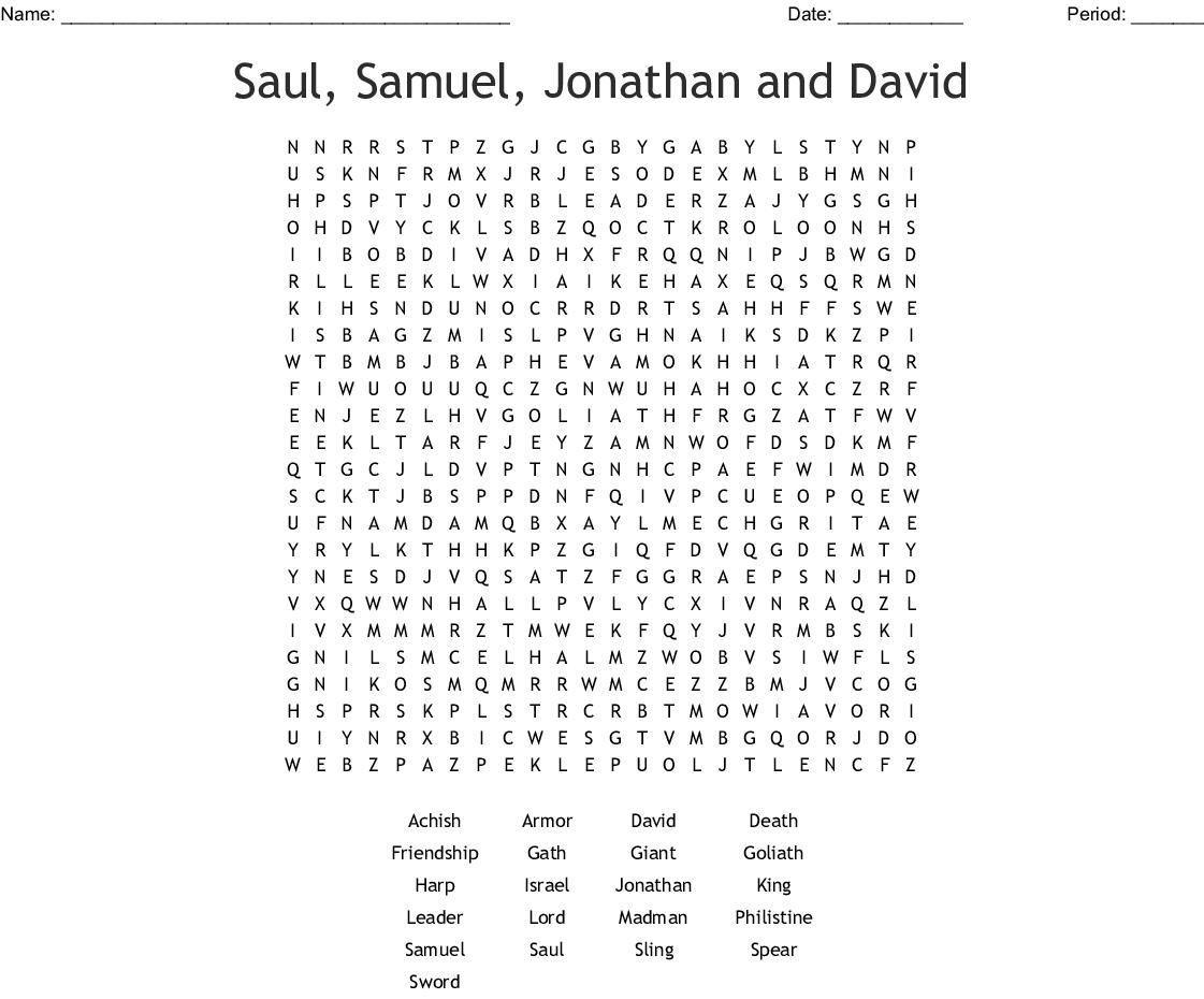 David And Saul Word Search