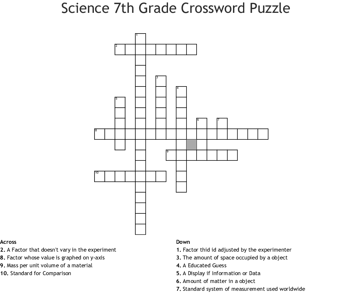 Science 7th Grade Crossword Puzzle