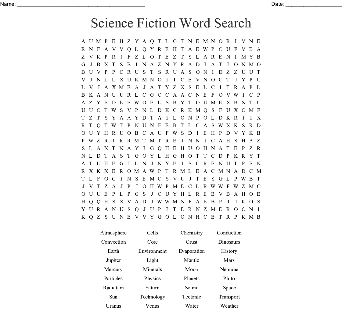 Science Fiction Word Search