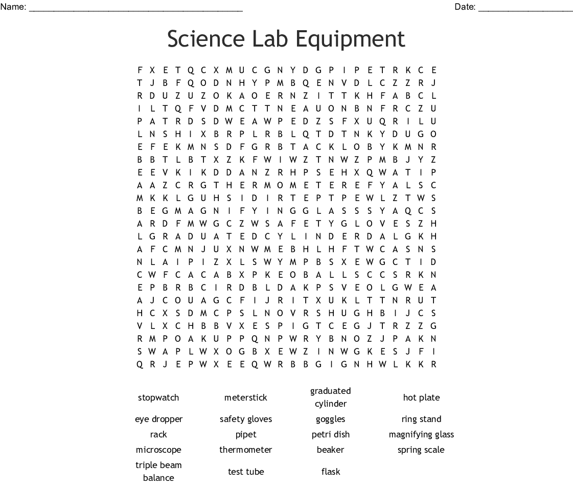 Lab Equipment Worksheet Answer