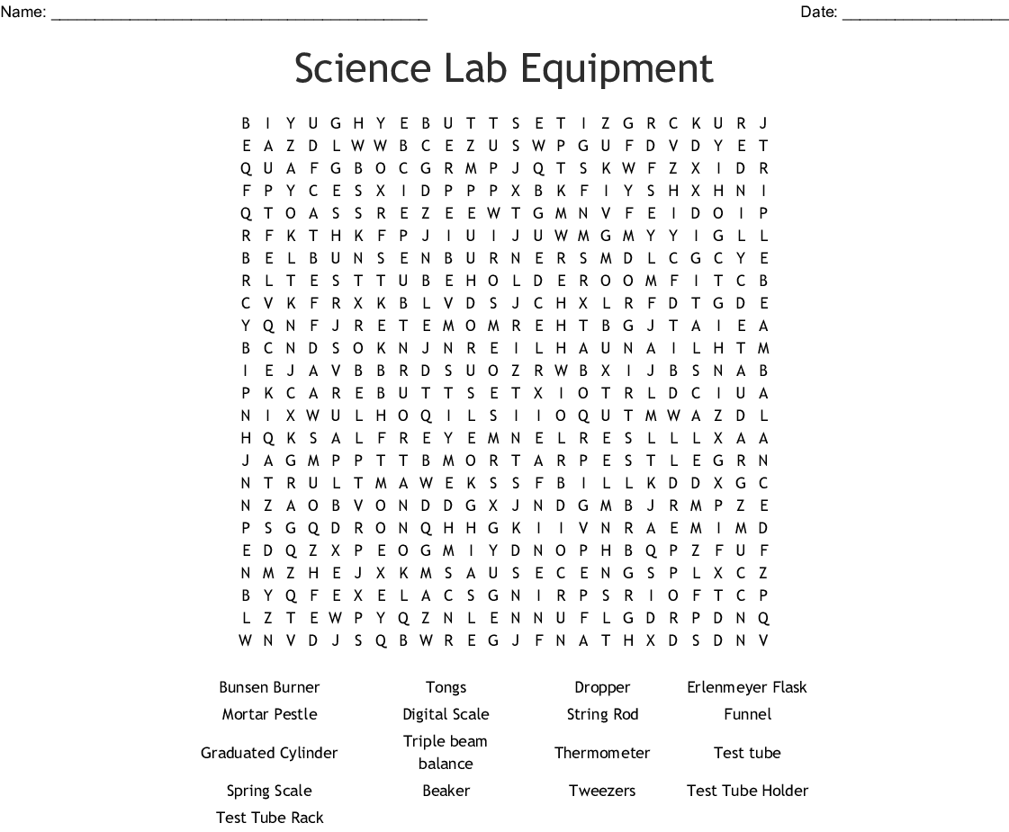 Lab Equipment Worksheet Answers