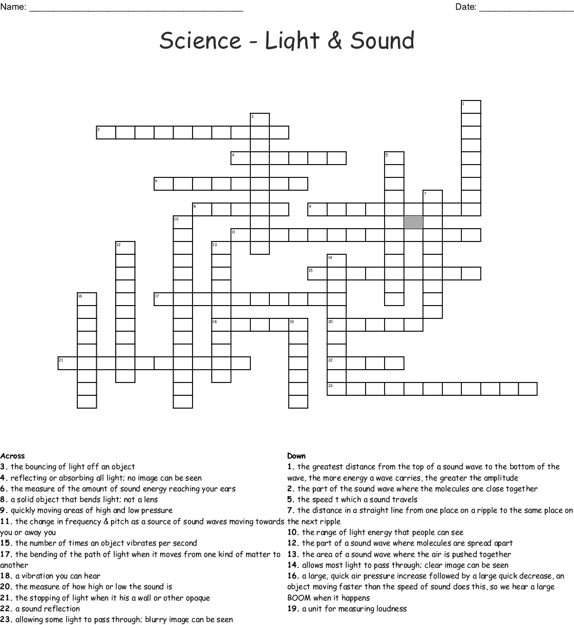 Light And Sound Worksheets For Grade 4