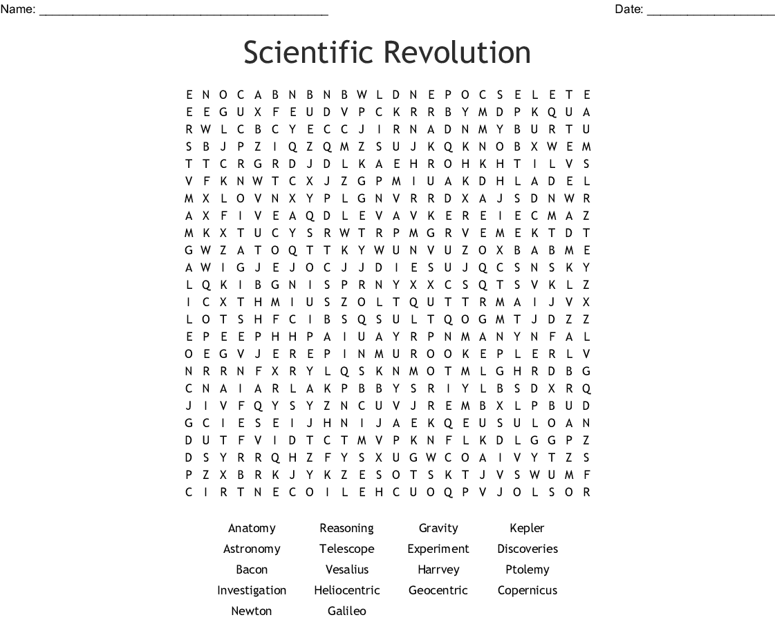 Scientific Revolution Word Search